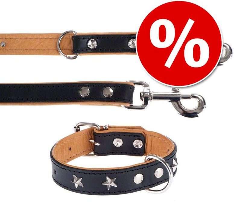Collare e guinzaglio Heim Stars per cani con borchie a forma di stella, lavorazione di pregio, in vacchetta morbida ed elastica.