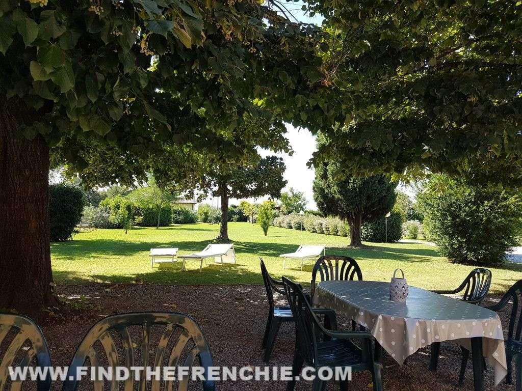 Il giardino bellissimo, curato ci ha accolti nei pomeriggi afosi di Ferragosto. Imponenti i tigli.