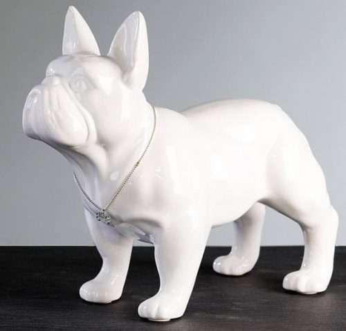 Statua bouledogue francese in ceramica di colore bianco