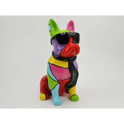 Statua in resina raffigurante bouledogue francese multicolore