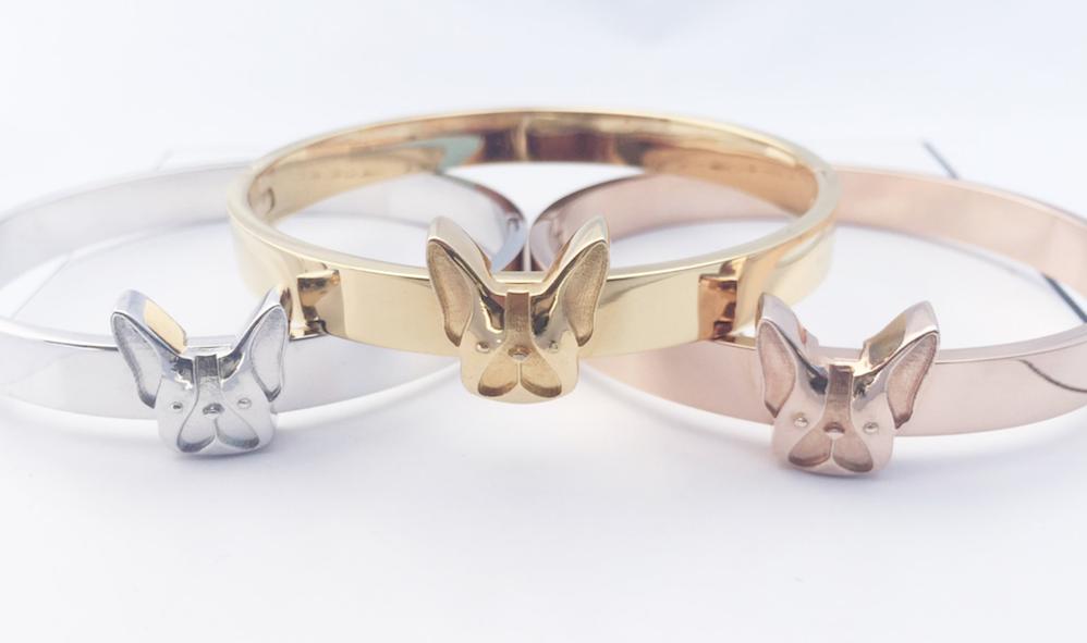 Braccialetti Bulldog Francese placcato oro