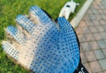 Guanti in gomma per cani Omorc -colore blu - raccolta pelo
