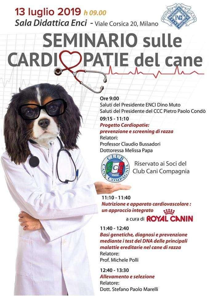 Seminario sulle Cardiopatie del Cane ENCI Club Cani Compagnia - Locandina