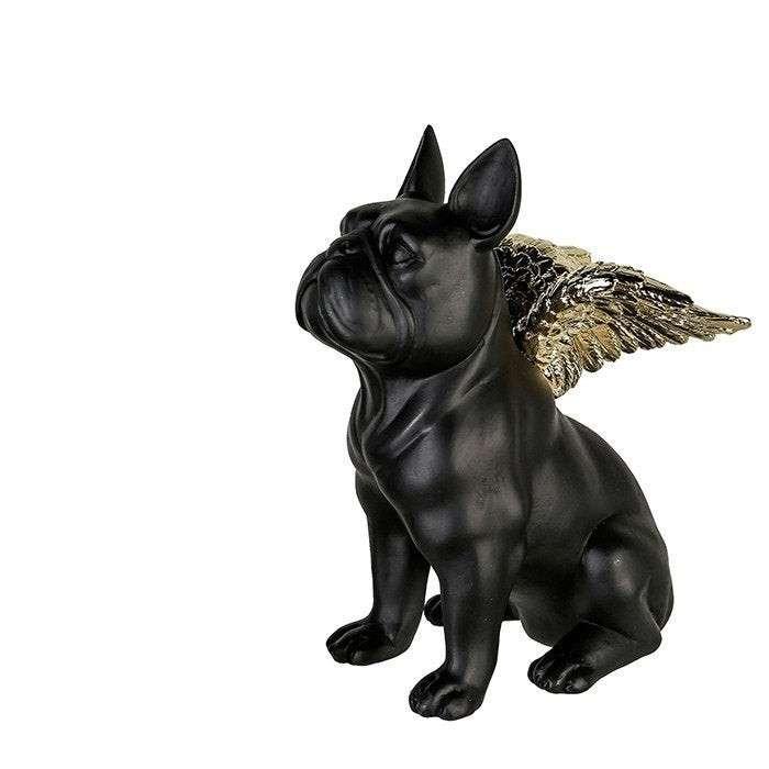 Statua bulldog francese nero con ali dorate