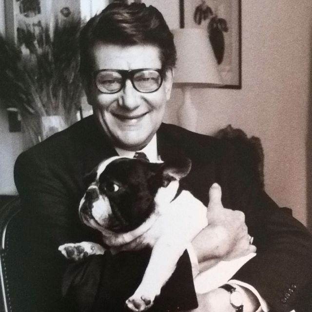 Yves Saint Laurent and his French Bulldog by Max Vadukul. Vogue 1994 (via Pinterest)
